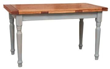 Table à rallonge champêtre en bois massif de tilleul massif, cadre gris antique, plateau fini naturel L160xPR90xH80 cm