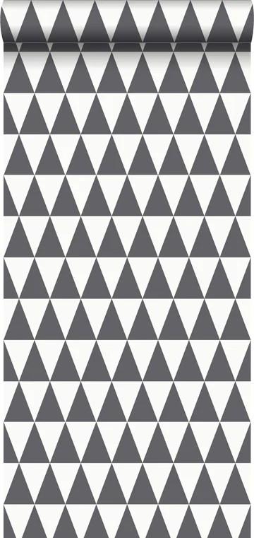 papier peint triangles géométriques graphiques noir et blanc mat - 148672 - d'ESTAhome.nl
