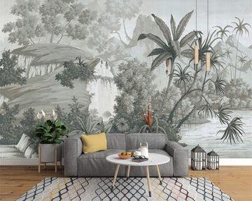 Wallpaper-YC Papier Peint intissé Décoration Murale Tableaux Muraux Tapisserie Photo Rétro nostalgique Palmier de Banane de forêt Tropicale Peinte à la Main, 366 × 254CM