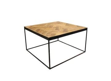 Meubletmoi Table Basse carré en Teck décor Chevron et piétement métal - Design Classique Chic & Industriel - Anna/S