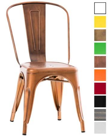 CLP Chaise Empilable en métal Belgrad - Chaise avec Dossier Haut Pieds avec Patins de Protection - Hauteur Assise 46 cm - Chaise de Cuisine Cuivre