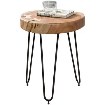 FineBuy Table d'appoint Bois Massif/Métal Acacia 35 x 46 x 35 cm Table Basse Salon | Bout de canapé est - Table de téléphone - Table en Bois Rond