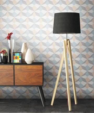 NEWROOM Papier peint beige Géométrique Grafique intissé bleu moderne