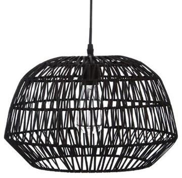 PEGANE Suspension Design en rotin et Fer Coloris Noir - Dim : D 38 x H 32 cm
