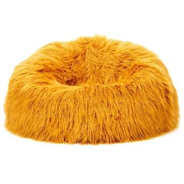 Icon Pouf Classique en Fausse Fourrure Mongole Yeti, Jaune Ocre, Poufs de Salon, 85cm x 50cm, Pouf Poire Grand, Chaise pour Chambre
