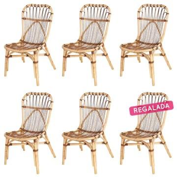 Lot de 6 chaises Elise en rotin