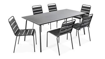 Oviala Table de Jardin et 6 chaises en métal