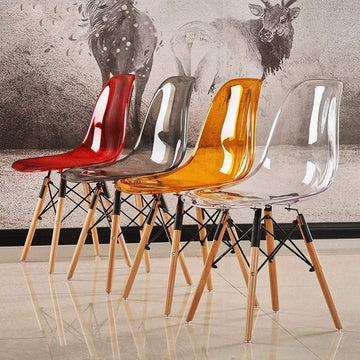 ZCXBHD Transparent Chaises salle à manger, Eiffel Lot de 4 rétro chaises cuisine Siège PC avec Eiffel Retro Pieds en bois hêtre combinaison Designer pour le salon bureau (Color : Orange)