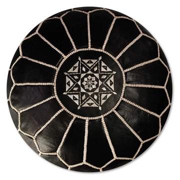 Pouf Artisanal Marocain en Cuir Véritable Fait Main - Vendu Rembourré - Coussin de Sol, Ottoman, Repose-Pied (Noir)