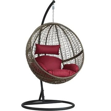 tectake Chaise hamac avec Support en Résine Tressée Fauteuil Suspendu de Jardin Balancelle Transat - diverses Couleurs au Choix - (Marron | No. 401776)