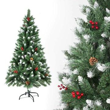 Sunjas Sapin de Noël Artificiel en PVC, avec Neige, Fruits Rouges, Ananas Véritables, Support en métal, Arbre pour Décoration de Noël (150cm, 400 Branches)