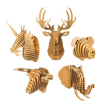 bambuswald Tête d'animal en Bois - Trophée/Décoration en Optique 3D - Taureau 48x36x30 pour Chambres d'enfants, Chambres d'enfants et Chambres de bébé   + Manuel Allemand