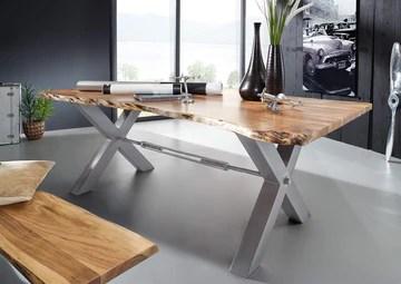 Table à manger 180x100cm - Bois massif d'acacia laqué (Bois naturel/Gris)- IRON LABEL #120