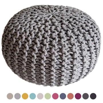 Casamia Pouf en tricot - rond - Diamètre 45 cm - Hauteur 30 cm - Siège style grosses mailles, Coton, gris clair, taille unique