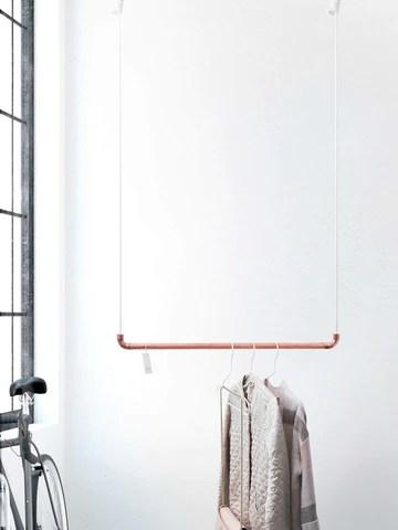 Design Tringle à vêtements de Rod & Knot ? The copperrope en cuivre Tuyau et corde en coton (Blanc) hängend, couvertures de besfestigung - 110 cm