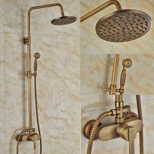 Rozine Laiton antique 20,3 cm précipitations de bain douche robinet support mural robinet mitigeur avec douchette à main, R2120