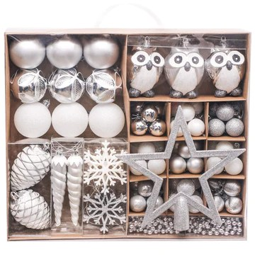Victor's Workshop 90pcs Boules De Noël Boules De Noël Ensemble, Ruban Et Blanc en Plastique Incassable Boules De Noël Décoration, Sapin De Noël Pendentifs Cadeaux (Frozen Winter)