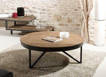 Macabane Table Basse Ronde 90 x 90 cm Bois et métal, Teck, Brun, 90 x 90 x 35 cm