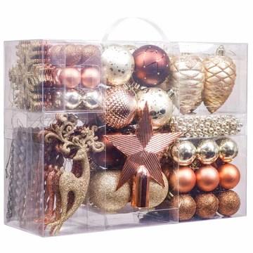 Valery Madelyn 100pcs Boules de Noël Ornements 3-8cm, décoration de Boules de Noël incassables en cuivre et en Plastique doré, Cadeaux de pendentifs de Sapin de Noël (Woodland)
