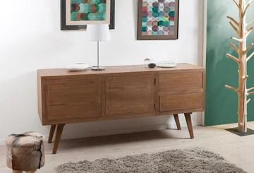 Macabane Buffet 2 Portes 2 tiroirs, Bois, Cannelle, 180 x 50 x 84 cm
