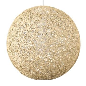 MiniSun Abat Jour Moderne pour Suspension. Ballon de 30 cm en Osier Tressé Crème. Adapte pour Douille de 42 mm avec bague de réduction pour douille de 28 mm