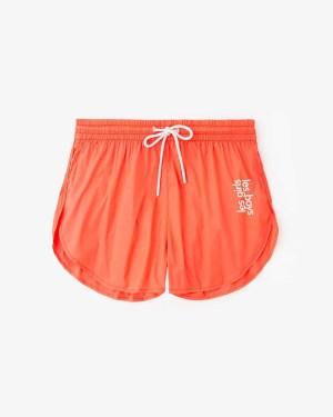 nylon shorts neon red