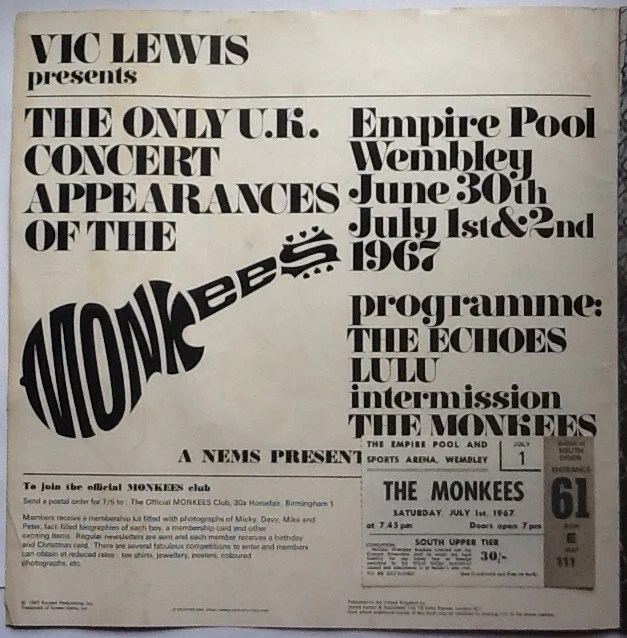 Monkees Lulu Echoes Original Concert Programme and Ticket Wembley Lond –  Fincharie's Music Shack