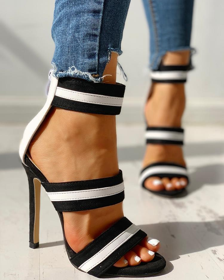 Stripes Open Toe Thin Heeled Sandals