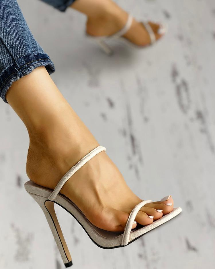 Concise Double Strap Thin Heeled Sandals