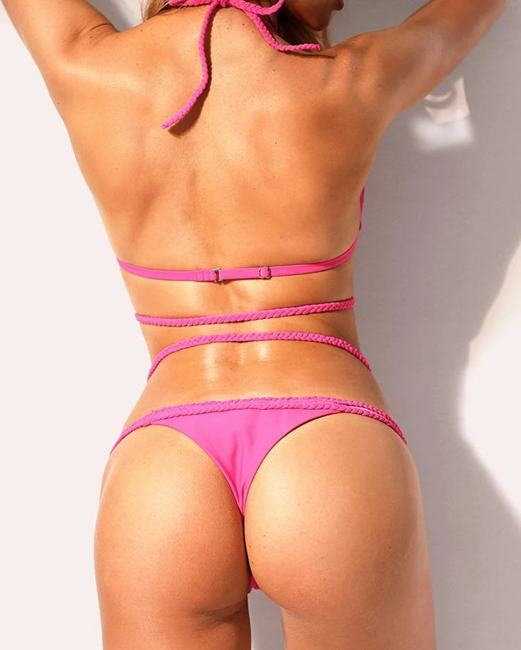 Braided Strap Halter Bikini Sets