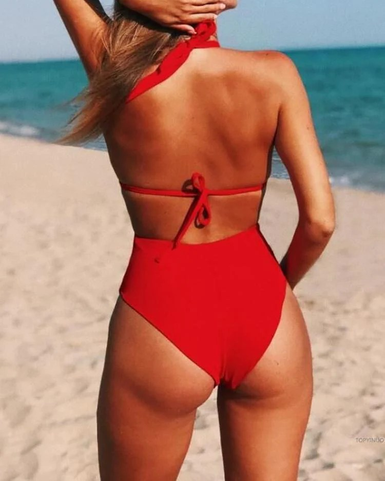 Sheer Mesh Floral Backless One-Piece Swimsuit