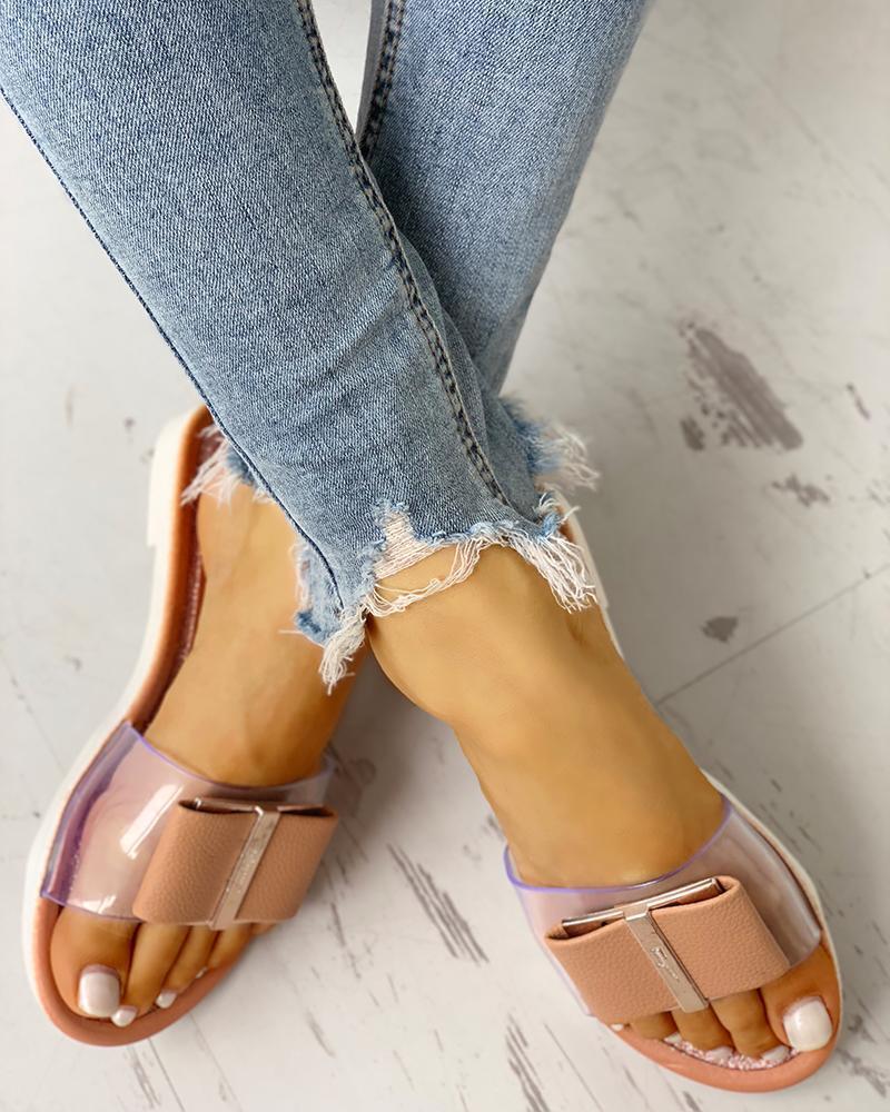 Transparent Bowknot Design Flat Sandals