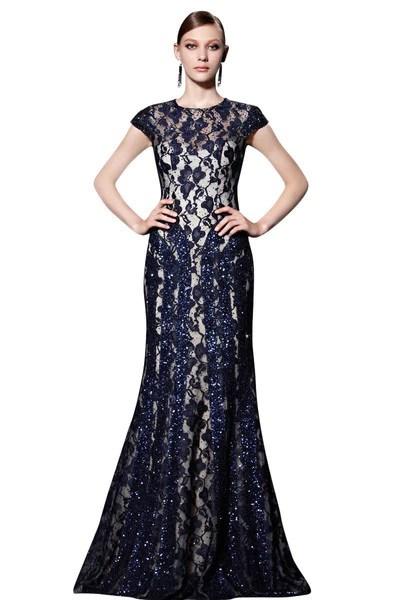 Midnight Blue Long Lace Dress 81869 Elliot Claire London