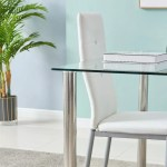 Dining Set Transparent Glass Table 4 Chairs Of Diamond Button Kitchen Better Home Furniture