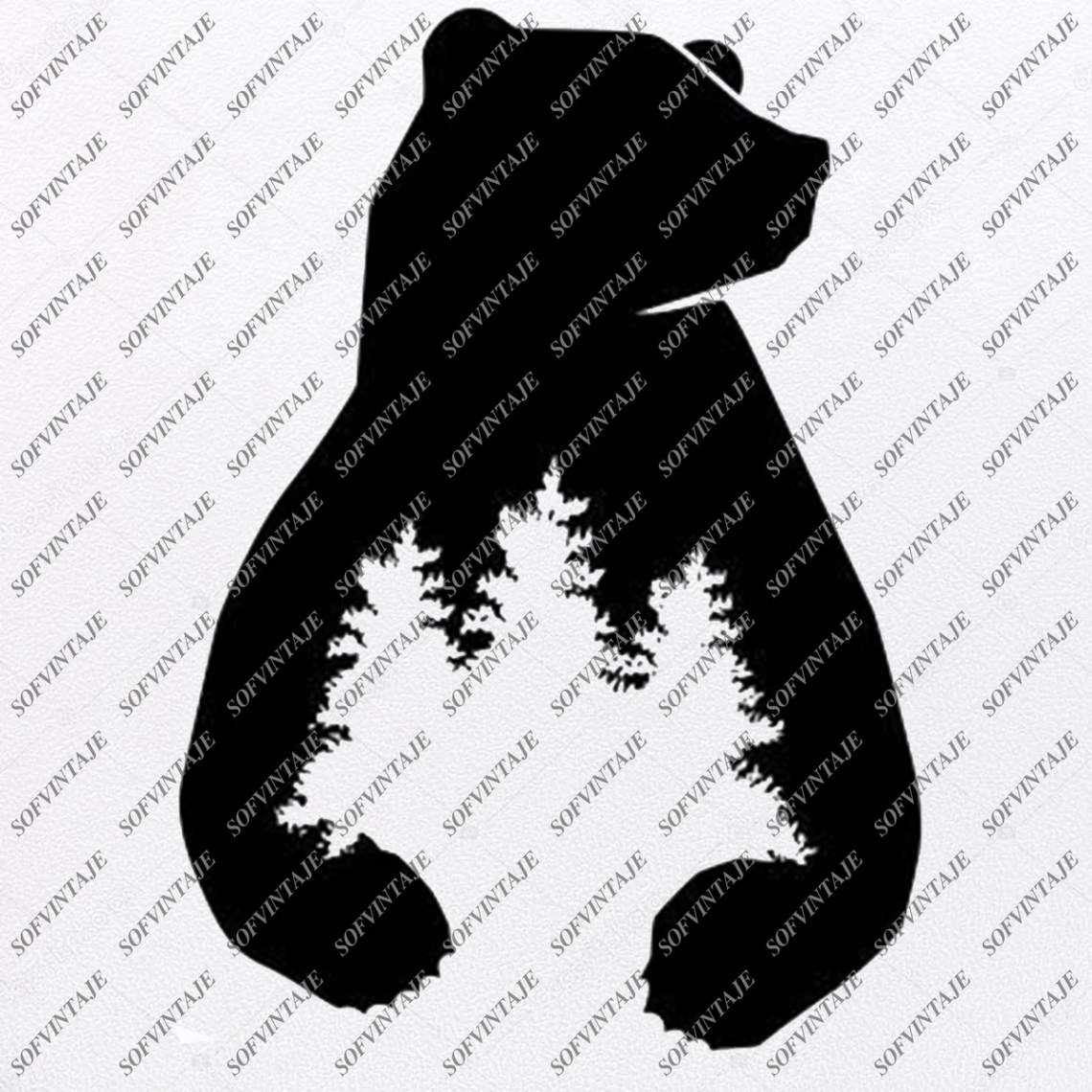 Download Bear Svg File - Bear in Wood - Animals Svg - Wild Animals ...
