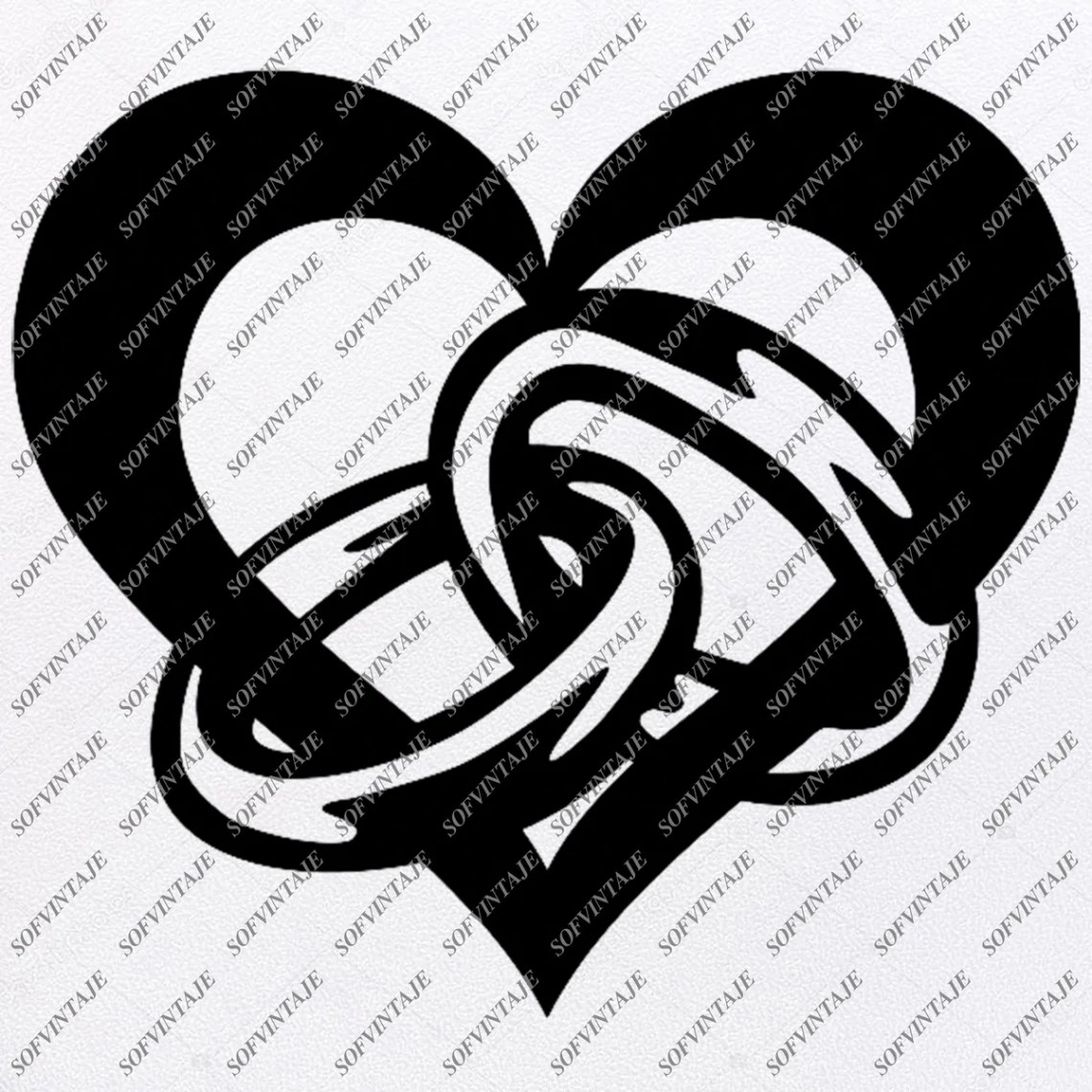 Download Heart With Two Wedding Ring Svg File- Heart Romance Love ...