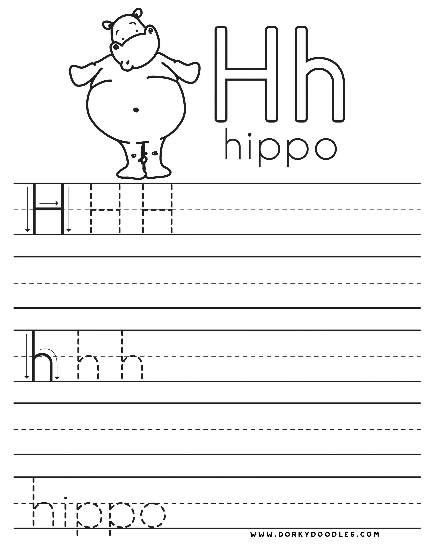 Letter Practice: H Worksheets – Dorky Doodles