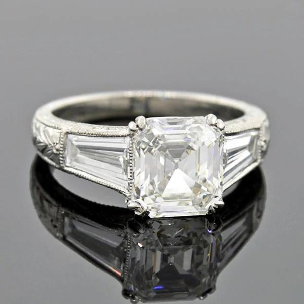 Vintage Platinum Asscher Emerald Cut Diamond Engagement ...