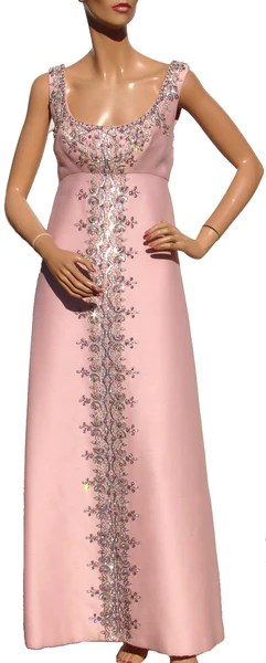 Vintage 60s Evening Gown With Matching Coat Beaded Pink