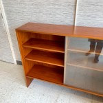 Narrow Mid Century Modern Teak Media Cabinet Or Bookcase