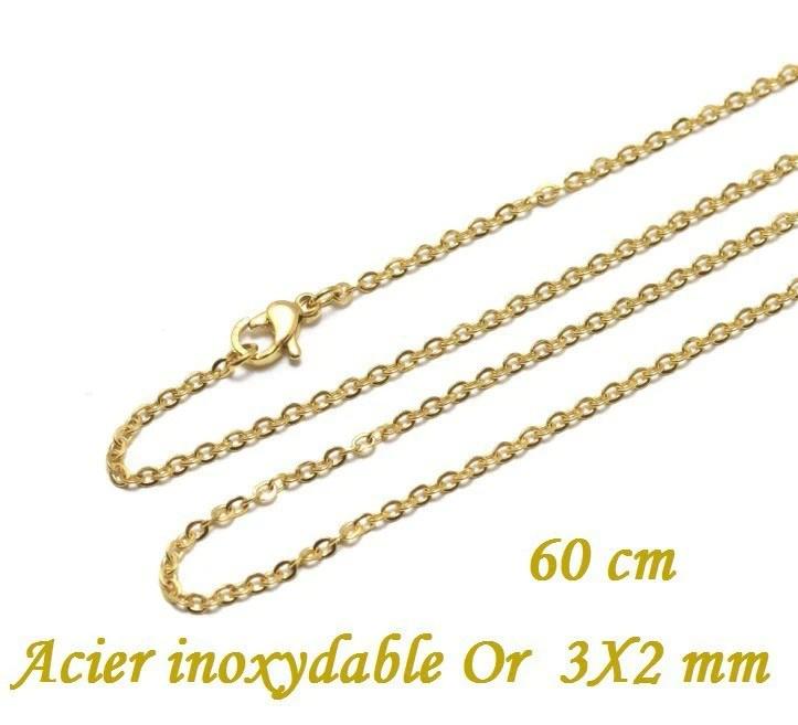chaine fine collier complet 60 cm en acier inoxydable or 2 mm avec fermoir or ideal pour des pendentif sautoir