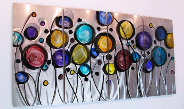 """""""Wild Flowers"""" 44""""x24"""" Modern Abstract Metal Wall Art"""