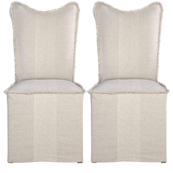 https www belleescape com fringed shabby chic slipcover side chairs html