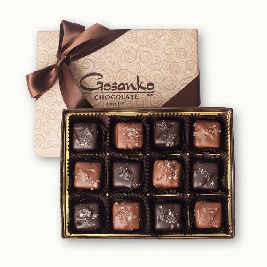 Sea Salt Caramel Box Of 12 Gosanko Chocolate