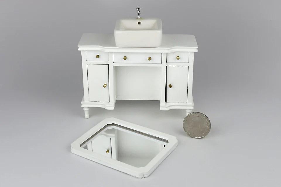 pedestal sink vanity with mirror