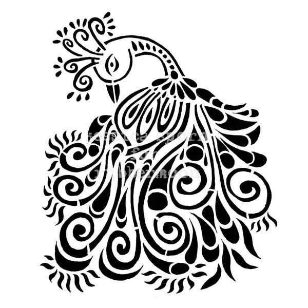 Jessica Sporn JS5250I Peacock Motif Rubber Art Stamp