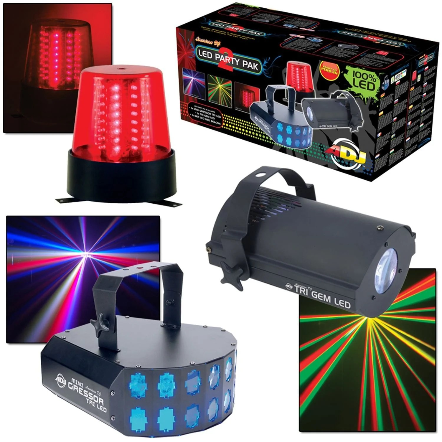 american dj led party pak 2 3 in 1 light effects