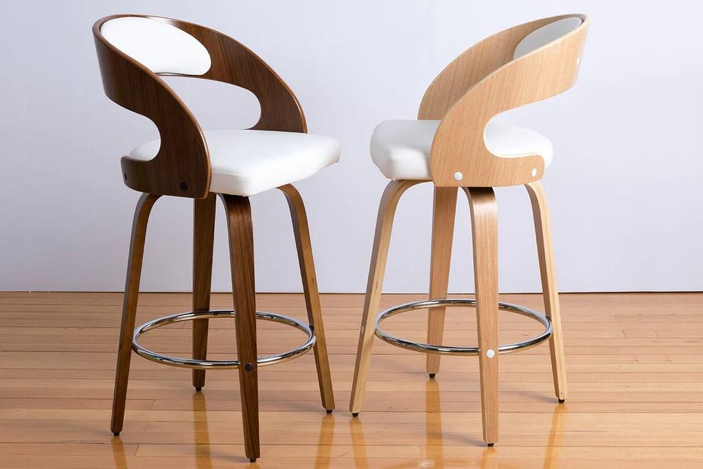 Mia Swivel Oak Or Walnut Engineered Timber Bar Stool Bespoke Furniture Gallery Perth