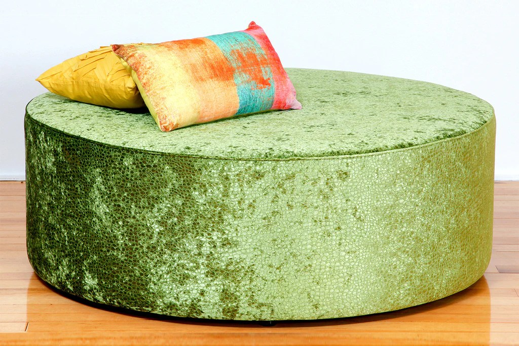 oreo large round upholstered fabric or leather ottoman bespoke furniture gallery perth