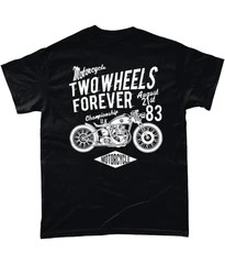Two Wheels Forever White – Gildan Heavy Cotton T-Shirt